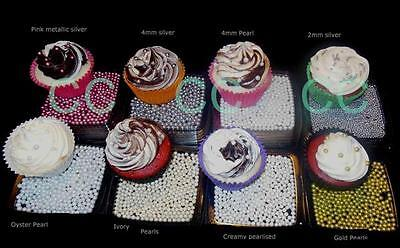 18G 4mm SILVER, GOLD, PINK, CREAM, PEARL OYSTER 2mm SILVER ROUND SUGAR  CUPCAKES