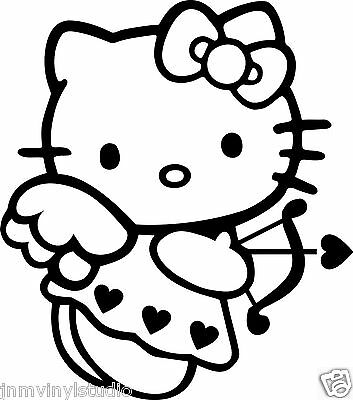 CUPID HELLO KITTY w/bow and love arrow vinyl decal sticker choose color