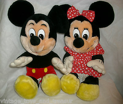 "12"" VINTAGE PAIR DISNEY LAND MICKEY & MINNIE MOUSE STUFFED ANIMAL PLUSH TOY"
