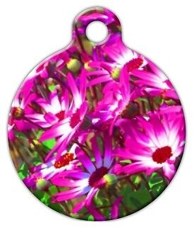 PINK FLOWER GARDEN - Custom Personalized Pet ID Tag for Dog and Cat Collars