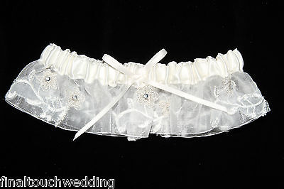 Wedding/bridal garter Ivory with organzer, lace and diamantes