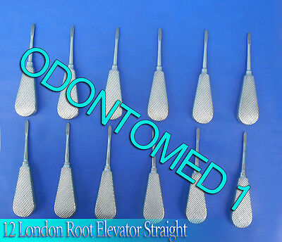 12 London Root Elevator Straight Surgical Dental Instruments