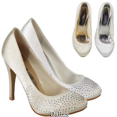 Ladies Wedding Shoes Womens Heels Fancy Bridal White Ivory Party Court Shoe Size
