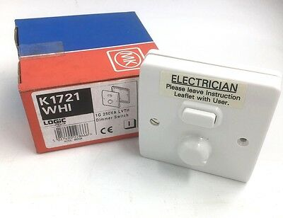Mk Logic Plus White 1G  Dimmer Switch 250Va Lvth K1721 Whi