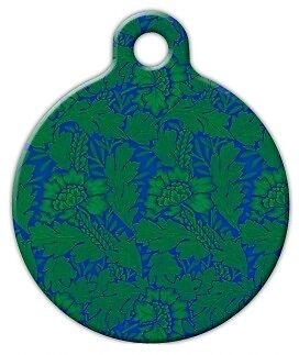 GREEN FLOWER PATTERN - Custom Personalized Pet ID Tag for Dog and Cat Collars