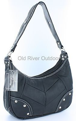 Black Genuine Roma Cowhide Leather Studded Shoulder Purse - White Stitching 29
