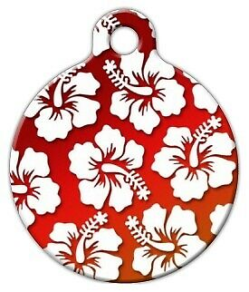 RED HAWAIIAN SHIRT - Custom Personalized Pet ID Tag for Dog and Cat Collars
