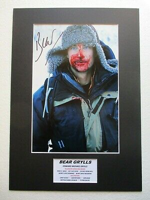 BEAR GRYLLS ADVENTURER MAN v WILD GENUINE HAND SIGNED MOUNTED PHOTO DISPLAY- COA