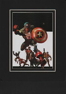 AVENGERS WORLDS MIGHTIEST ZOMBIES MATTED PRINT by Suydam Captain America