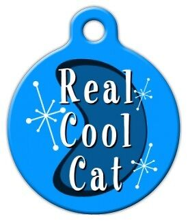 RETRO REAL COOL CAT - Custom Personalized Pet ID Tag for Dog and Cat Collars
