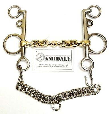 Waterford Pelham With Lozenge Chain Copper Mix German Silver Horse Bit Brand New