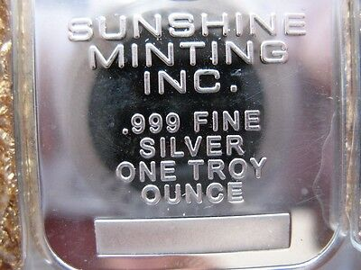 1-Oz .999 Sunshine Minting Inc  Silver Eagle Bar Bullion 2012 Paper $ Crash Ins