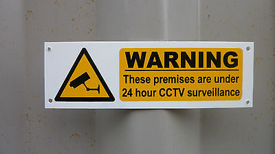Warning 24 Hour CCTV 160 x 50mm Plastic Sign With Holes/Sticky Back Or Sticker