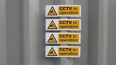CCTV In Operation *Pack Of 4*  Signs Holes/No Holes/D/S Tape Or Sticker 160 x 50