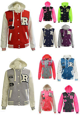 Kids Girls Boys Unisex R Baseball Jacket Varsity with Neon Pink Sleeves 3-13Yrs