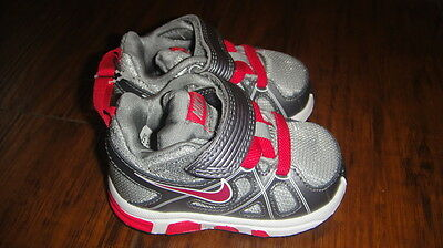 New Nike Baby Infant Girls Gray Pink Sz 2 Shoes