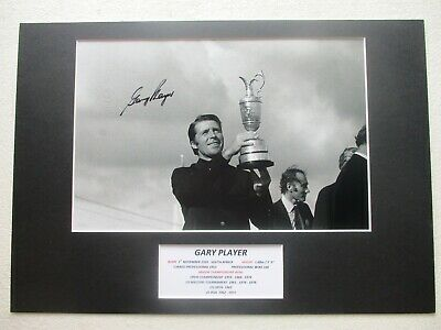 GARY PLAYER 60s-70s GOLF MAJOR WINNER GENUINE SIGNED A3 PHOTO MOUNT DISPLAY- COA