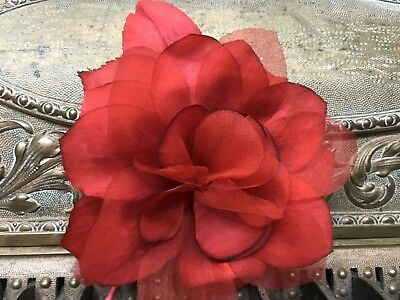 "VINTAGE Silk Organza 5"" BRIGHT RED  ROSE CZECH RED HAT"