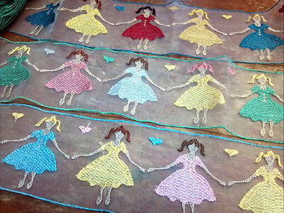 "Embroidered SHEER 3.25/"" GIRLS with PIGTAILS /& HEARTS 1yd RETRO Child Applique"
