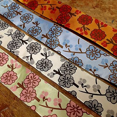"VINTAGE CHERRY BLOSSOM FRENCH RIBBON 1.5"" Flowers Made in France 1yd"