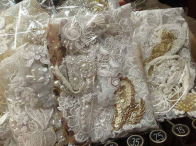 Assorted BEADS APPLIQUES PANEL Fringe  pieces Trim WHITE & Lil' Gold 1 grab bag!