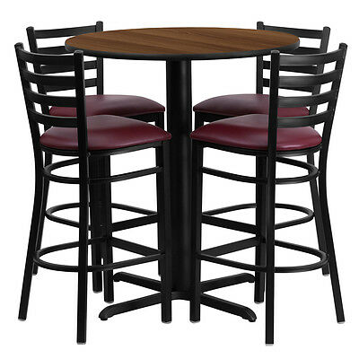 Restaurant Table Chairs 30'' Walnut Laminate with 4 Ladder Back Metal Bar Stools