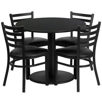 "36"" Round Black Laminate Restaurant Table Set with 4 Metal Ladder Back Chairs"