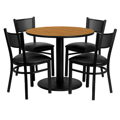 Restaurant Table Chairs 36'' Natural Laminate with 4 Grid Back Metal Vinyl Seat