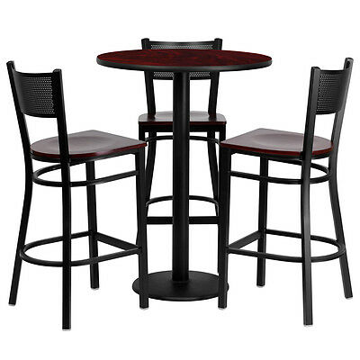 "Restaurant Table Chairs 30"" Mahogany Laminate with 3 Grid Back Metal Bar Stools"
