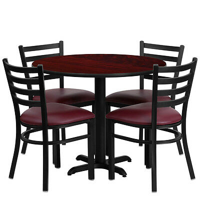 "Restaurant Table Chairs 36"" Mahogany Laminate with 4 Ladder Metal Burgundy Vinyl"