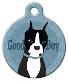 GOOD BOY - BOSTON TERRIER - Custom Personalized Pet ID Tag for Dog Cat Collars