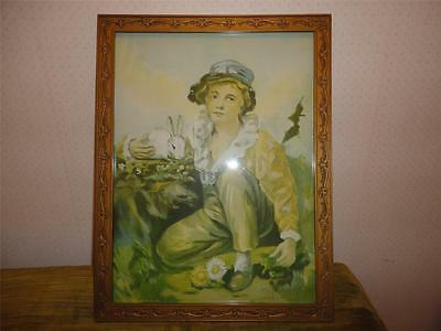 Antique Victorian Boy w Rabbit Picture Print in Great Gold Scrollwork Wood Frame