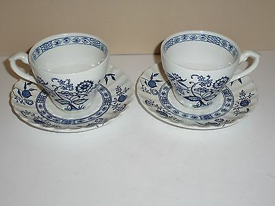 J.G. Meakin England Blue Onion Two China Cups and Matching Saucers