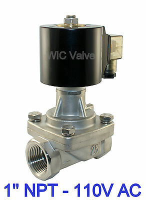 1 Inch Stainless Electric Solenoid Steam Valve Normally Closed 110V AC PTFE Seal