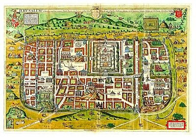 Ancient Templar Color Map of Jerusalem B, Shows old Religious Sites, Detailed