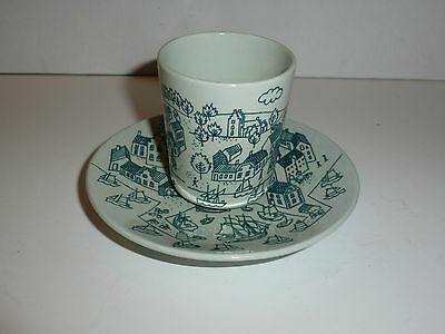 Nymolle Denmark Art Faience Tumbler and Matching Underplate, Hoyrup