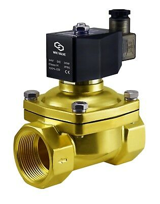 """1-1/2"""" Inch Brass Zero Differential Electric Air Water Solenoid Valve NC 24V DC"""