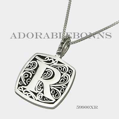 Authentic Lori Bonn Sterling Silver R is for Radiant Pendant 59900XR