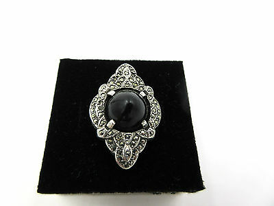Large VIntage ART DECO Marcasite Onyx Sterling Silver Womens Ring size 6.5
