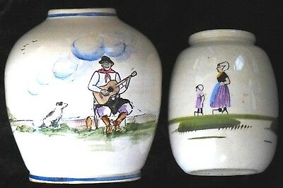"Vintage French? Pottery Jars/vases~Hand Painted In Glaze~4-1/2&5-1/2""~Excellent!"