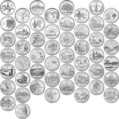 US 50 STATE QUARTER (25C)COMPLETE SET 1999 - 2008 UNCIRCULATED P or D mint coins