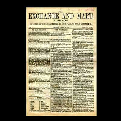 Dollshouse Miniature Newspaper - Exchange & Mart 1868