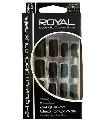Kit 24 faux ongles noirs et colle 3g  Royal Black Onyx  24  false nails & glue