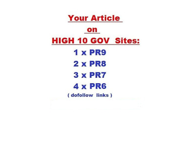 10 GOV ,Contextual Dofollow High PR Backlinks from Famous GOV Sites ! Best SEO.