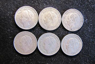 Lot of 6 Netherlands 10 Cents Silver Coins 1926, 1927, 1936-1939