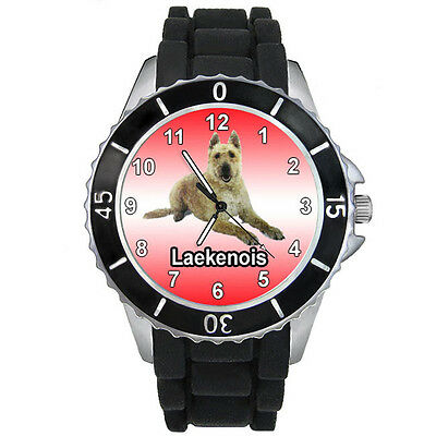Laekenois Belgian Shepherd Dog Unisex Black Rubber Silicone Wrist Watch S715E