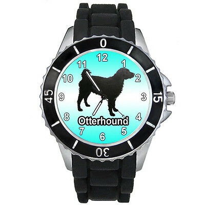 Otterhound Dog Fashion Sports Mens Ladies Black Jelly Silicone Wrist Watch S709E