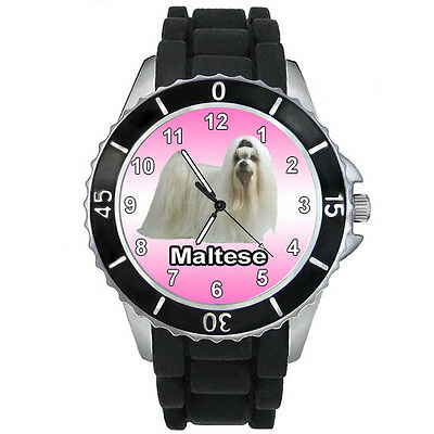 Maltese Puppy Dog Mens Ladies Casual Black Jelly Silicone Band Wrist Watch S702E