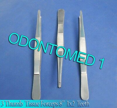 "3 Thumb Rat Tooth Tissue Forceps 1X2T 8"" Surgical"