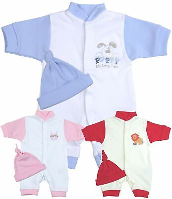 BabyPrem Premature Preemie Baby Boys Girls Clothes 2 Piece Romper & Hat Set